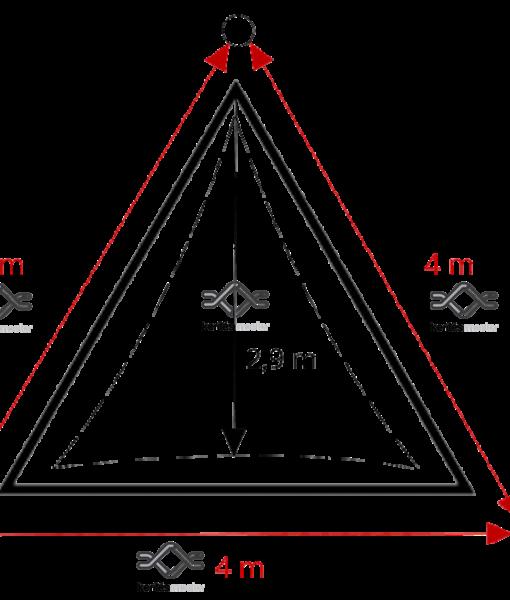 Napvitorla 3,6 x 3,6 x 3,6 beépítés, minimális helyszükséglet