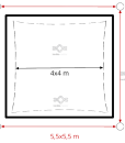 Napvitorla 5×5 m beépítés, minimális helyszükséglet