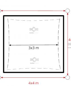 Napvitorla 3,6 x 3,6 m beépítés, minimális helyszükséglet