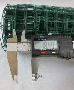 Horganyzott kalitka drótháló, kalitka rács 19x19 mm zöld pvc bevonattal