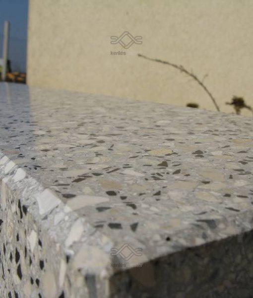 Vasalt műkő kerítés fedlap egyedi méretben, szürke -fekete színben 5 cm vastagságban